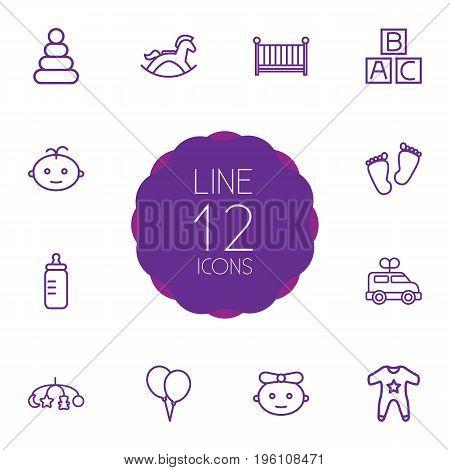 Set Of 12 Child Outline Icons Set