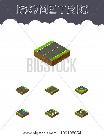 Isometric Road Set Of Driveway, Repairs, Plash And Other Vector Objects