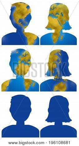 World planisphere in male and female people head digital illustration