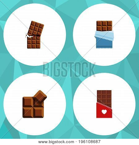 Flat Icon Bitter Set Of Cocoa, Wrapper, Bitter And Other Vector Objects