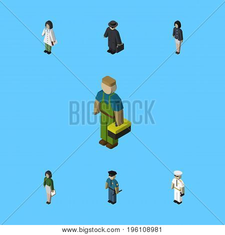 Isometric Human Set Of Detective, Girl, Pedagogue And Other Vector Objects