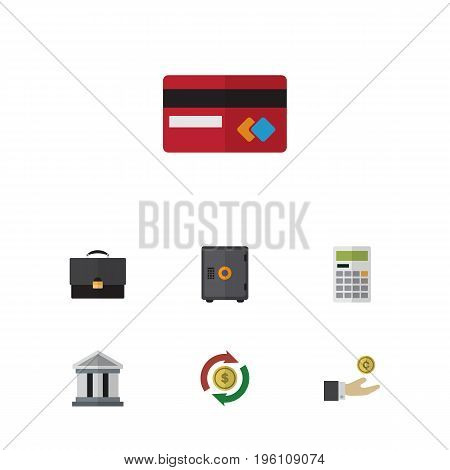 Flat Icon Incoming Set Of Bank, Calculate, Hand With Coin Vector Objects