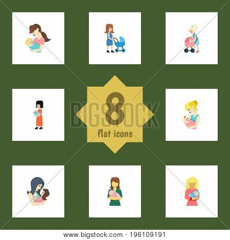 Flat Icon Parent Set Of Kid, Mother, Parent And Other Vector Objects
