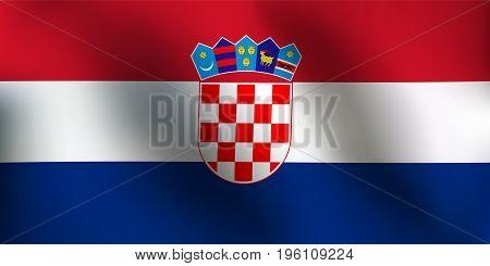 Flag of Croatia with a little Waving Shading & Flag Colors separated layers - Vector Illustration