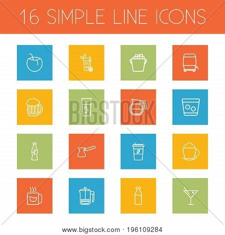Set Of 16 Beverages Outline Icons Set