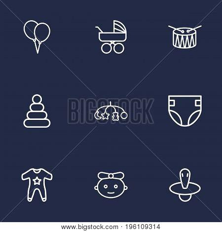 Set Of 9 Child Outline Icons Set