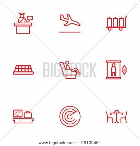 Set Of 9 Aircraft Outline Icons Set