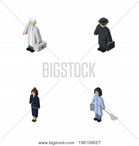 Isometric Person Set Of Detective, Housemaid, Businesswoman And Other Vector Objects