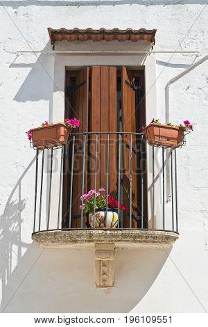 Characteristic balcony of Mottola. Puglia. Southern Italy.