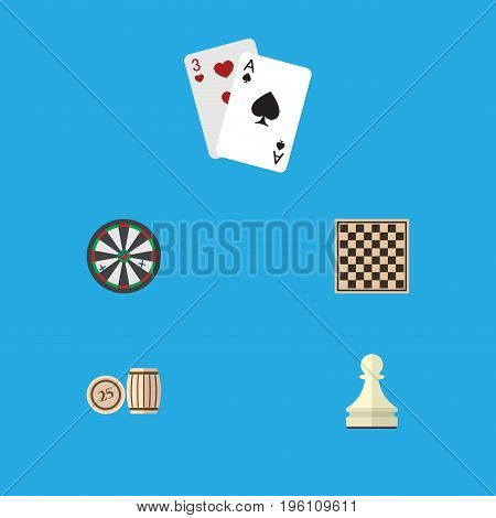 Flat Icon Entertainment Set Of Chess Table, Lottery, Ace And Other Vector Objects