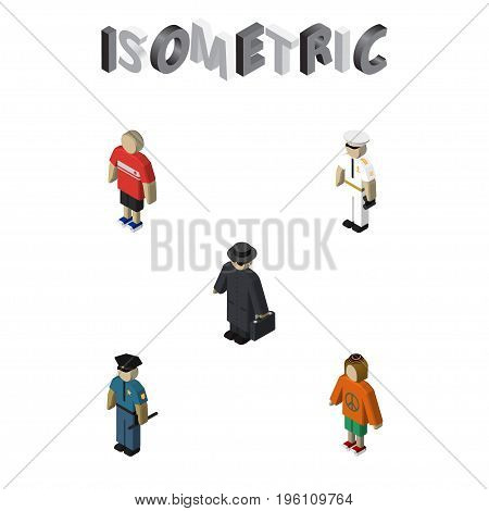 Isometric Person Set Of Guy, Seaman, Lady And Other Vector Objects