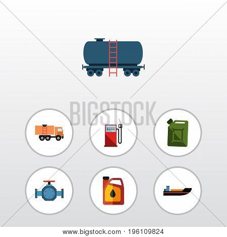 Flat Icon Petrol Set Of Boat, Flange, Jerrycan And Other Vector Objects