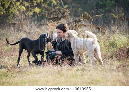Girl talks something with her dogs during a rest