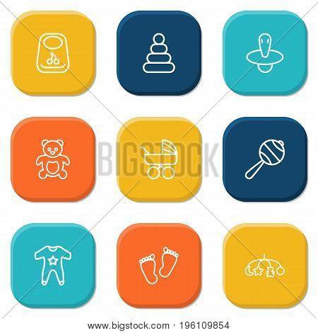 Set Of 9 Baby Outline Icons Set