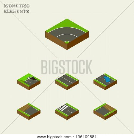 Isometric Road Set Of Flat, Strip, Underground And Other Vector Objects