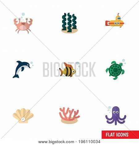 Flat Icon Nature Set Of Alga, Tentacle, Conch And Other Vector Objects