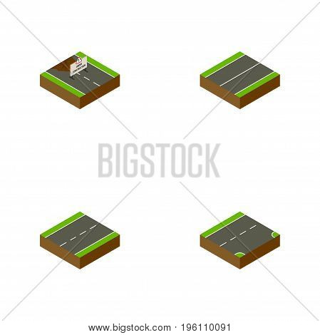 Isometric Way Set Of Down, Driveway, Plane And Other Vector Objects