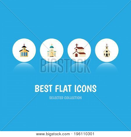 Flat Icon Christian Set Of Building, Catholic, Religious And Other Vector Objects