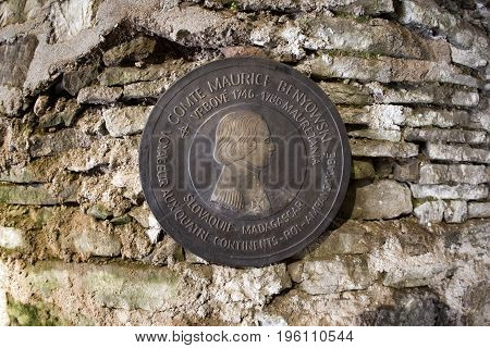 STARA LUBOVNA SLOVAKIA - MAY 20: Maurice benyowski memorial plaque insedi Lubovna castle on May 20 2017 in Stara Lubovna