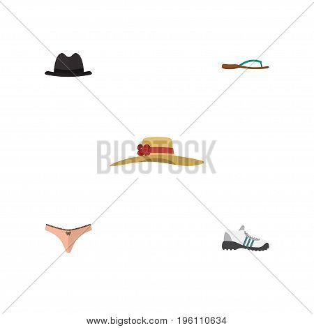 Flat Icon Dress Set Of Beach Sandal, Sneakers, Lingerie Vector Objects