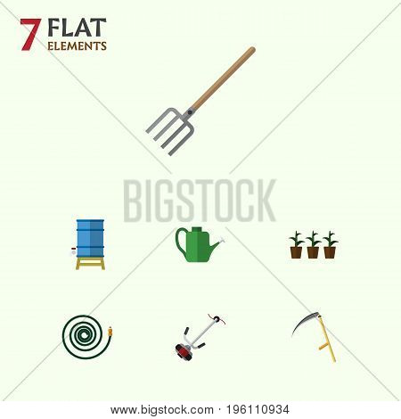 Flat Icon Garden Set Of Bailer, Hosepipe, Container And Other Vector Objects