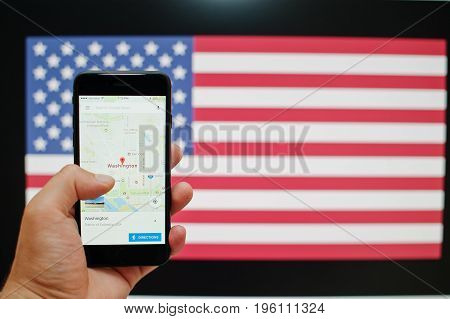 Kyiv, Ukraine - Jul 11,2017: Apple Iphone 7 With Google Maps Application Showing Washington On The S
