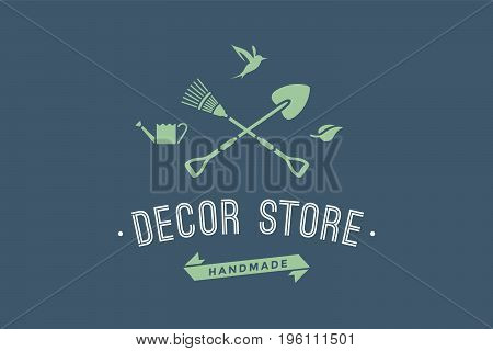 Logo of hand made eco shop with symbol of gardening and organic icons, text Decor Store. Logo template for eco business - farm shop, eco market or design - label, banner, sticker. Vector Illustration