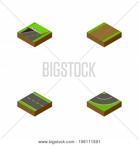 Isometric Road Set Of Single-Lane, Subway, Road And Other Vector Objects