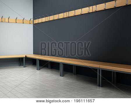 Dressing room of a gymnasium. 3D illustration.