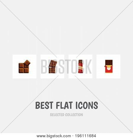Flat Icon Bitter Set Of Sweet, Chocolate Bar, Wrapper And Other Vector Objects