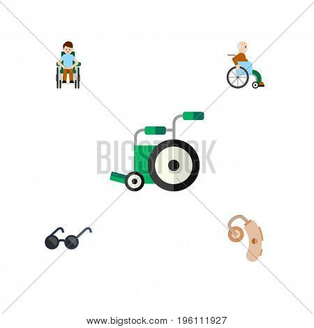 Flat Icon Handicapped Set Of Disabled Person, Equipment, Handicapped Man Vector Objects