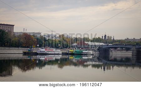 Tourist Boats At Jetty In Moscow, Russia