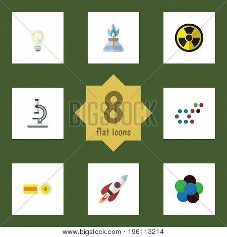 Flat Icon Science Set Of Irradiation, Chemical, Lightbulb And Other Vector Objects