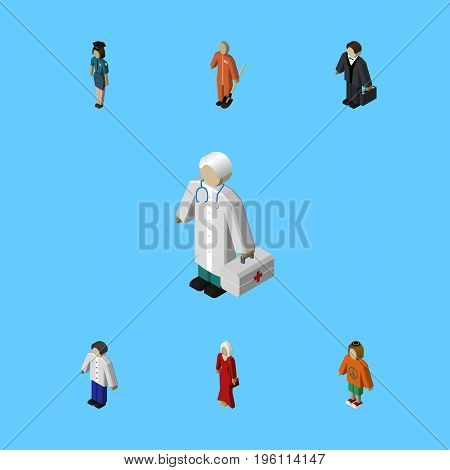 Isometric Human Set Of Male, Investor, Medic And Other Vector Objects