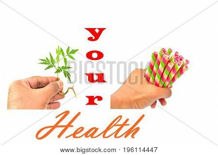Hand is gripping marijuana.,Hand is gripping colorful wafer roll.You need health care. isolated image on white background.
