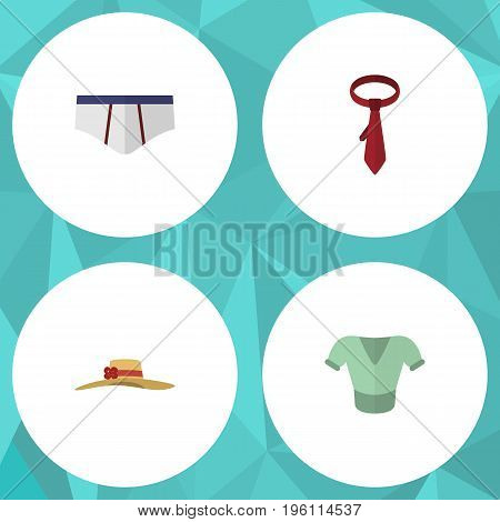 Flat Icon Garment Set Of Cravat, Underclothes, Elegant Headgear And Other Vector Objects
