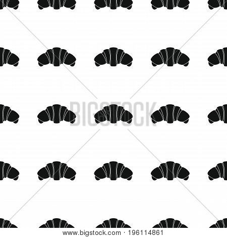 Croissant bakery product black simple silhouette vector seamless pattern, silhouette stylish texture. Repeating croissant seamless pattern background for bakery design and web