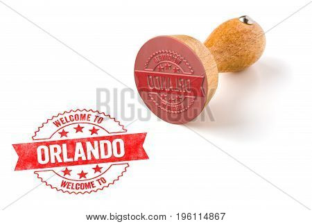 A Rubber Stamp On A White Background - Welcome To Orlando
