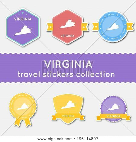 Virginia Travel Stickers Collection. Big Set Of Stickers With Us State Map And Name. Flat Material S