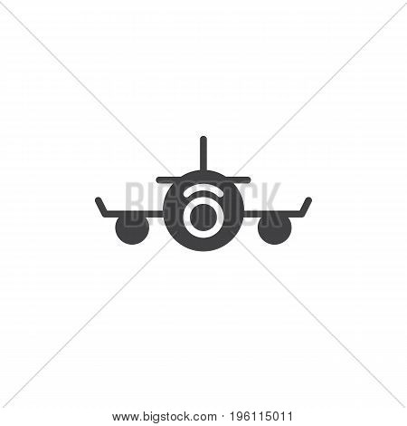 Airplane icon vector, filled flat sign, solid pictogram isolated on white. Plane front Symbol, logo illustration. Pixel perfect graphics