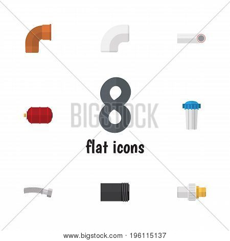 Flat Icon Industry Set Of Drain, Water Filter, Iron And Other Vector Objects