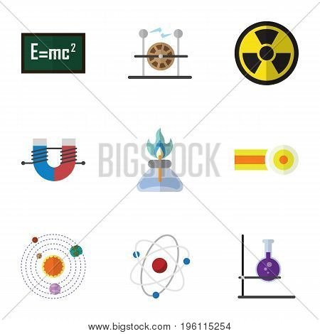 Flat Icon Knowledge Set Of Attractive Force, Chemical, Orbit And Other Vector Objects