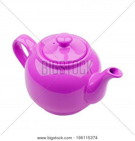 Purple teapot isolated on white background closeup
