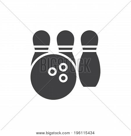 Bowling icon vector, filled flat sign, solid pictogram isolated on white. Symbol, logo illustration. Pixel perfect graphics