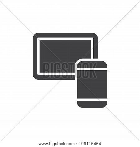 Tablet and smartphone icon vector, filled flat sign, solid pictogram isolated on white. Mobile devices symbol, logo illustration. Pixel perfect graphics