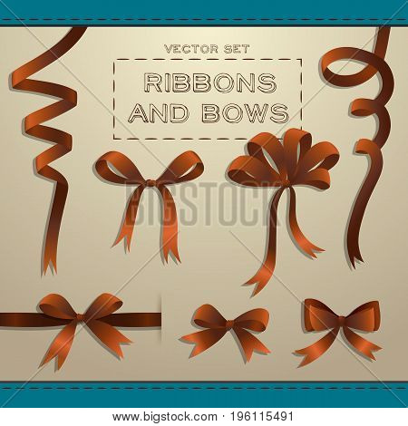 Big set of brown ribbons and bows for gift boxes on beige background flat isolated vector illustration