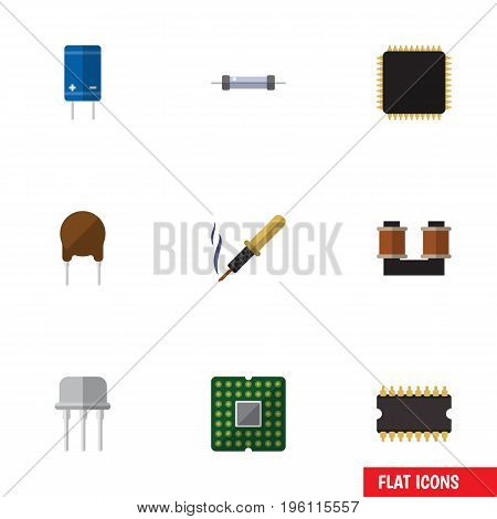 Flat Icon Technology Set Of Unit, Resist, Triode And Other Vector Objects