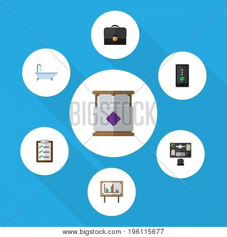 Flat Icon Life Set Of Bureau, Cellphone, Briefcase And Other Vector Objects