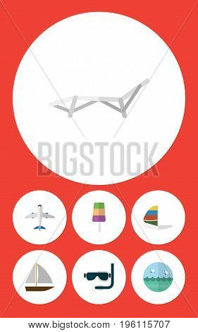 Flat Icon Season Set Of Aircraft, Yacht, Sundae And Other Vector Objects