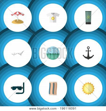 Flat Icon Summer Set Of Ship Hook, Sunshine, Deck Chair And Other Vector Objects